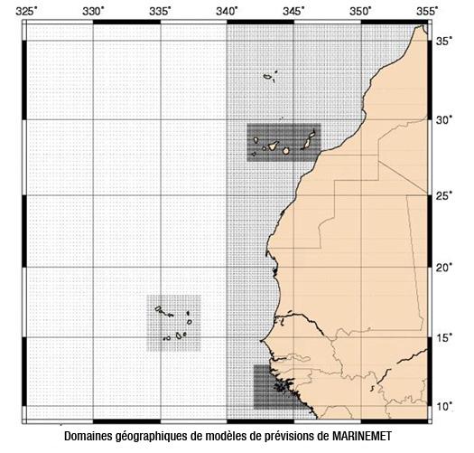Domaines géographiques de modèles de prévisions de MARINEMET